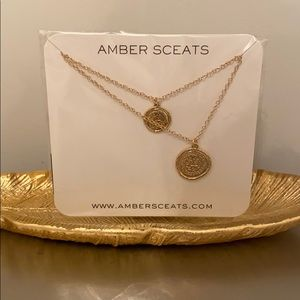 Amber Sceats gold double coin necklace